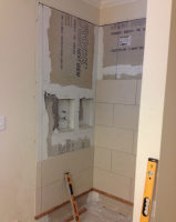Caddy insert for shower being installed